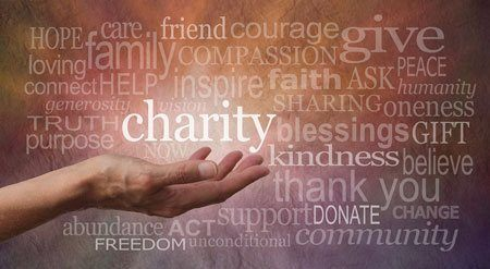Christmas Gift Advice - Local charity tips - a hand holding inspirational words like donate, help
