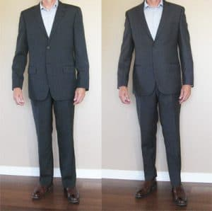 Photo before and after of a tailor altered restyle, retailored, retailoring, tailoring, alterations, updated, modernized, suits and resulting restyled clothing.