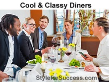 young professionals demonstrate the fun art of business dining.
